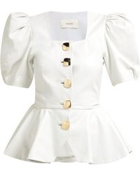 Rodarte - Square Neck Puffed Sleeve Leather Blouse - Lyst