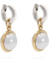Spinelli Kilcollin - Galina Silver, 18kt Gold & Pearl Hoop Earrings - Lyst