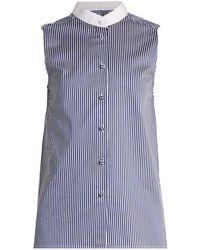Khaite - Shalom Striped Cotton Sleeveless Shirt - Lyst
