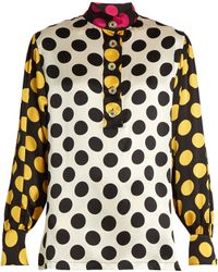 Duro Olowu - Large Polka-dot Print Silk-satin Blouse - Lyst