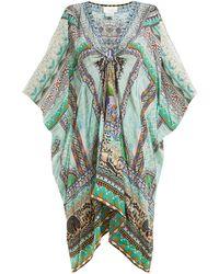 Camilla - V-neck Printed Silk-chiffon Kimono Dress - Lyst