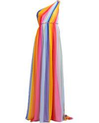 Carolina Herrera - Robe de soirée en mousseline de soie rayée - Lyst