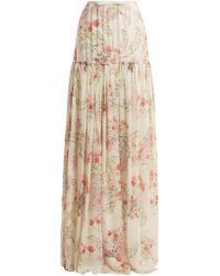 Giambattista Valli - Lily Of The Valley Print Silk Georgette Skirt - Lyst