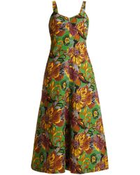 Duro Olowu - Floral Print V Neck Textured Cloqué Dress - Lyst