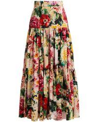 Dolce & Gabbana - Tiered Floral Print Cotton Skirt - Lyst