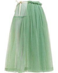 Molly Goddard Lettie Gingham Tulle Wrap Midi Skirt