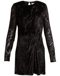Saint Laurent - Long-sleeved Velvet-devoré Mini Dress - Lyst