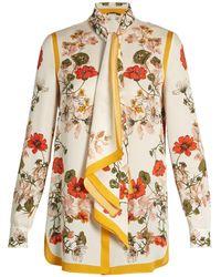 Alexander McQueen | Tie-neck Floral-print Crepe Blouse | Lyst