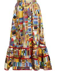 Stella Jean - Ikat Print Ruffled Hem Cotton Blend Midi Skirt - Lyst