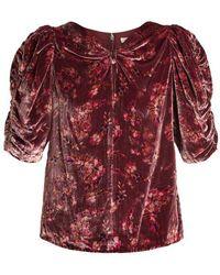 Rebecca Taylor - Jewel Ruched-sleeve Floral-print Velvet Top - Lyst