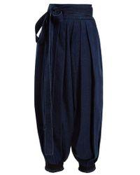 JW Anderson - Wide Leg Pleated Tie Cuff Denim Trousers - Lyst