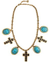 Gucci - Beetle And Cross Pendant Bead Necklace - Lyst