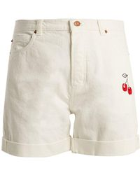 Bliss and Mischief - Cherry-embroidered High-rise Denim Shorts - Lyst