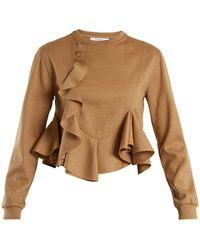 Givenchy - Ruffled Hem Wool Jersey Sweatshirt - Lyst