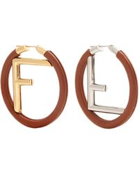 Fendi | Logo Leather Hoop Earrings | Lyst