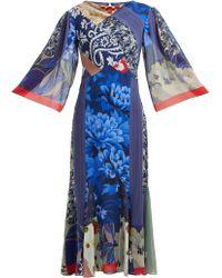 Etro Patchwork Print Silk Chiffon Dress - Blue