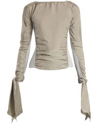 Lemaire - Contrast-panel Ruched Crepe De Chine Top - Lyst