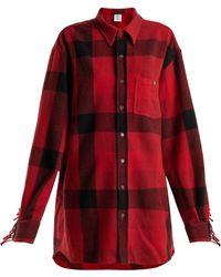 Vetements - Fringed Sleeve Oversized Wool Blend Shirt - Lyst