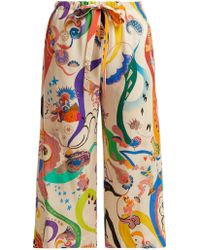 Etro - Printed Silk Cropped Trousers - Lyst
