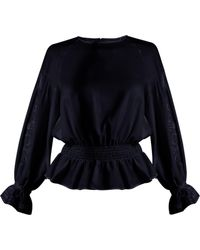MUVEIL - Embroidered-sleeved Twill Blouse - Lyst