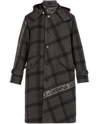 Dolce & Gabbana - Logo-print Checked Wool-blend Coat - Lyst