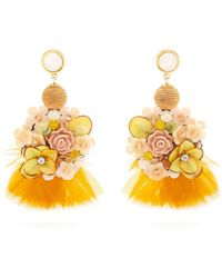 Lizzie Fortunato - Flower And Feather Embellished Earrings - Lyst