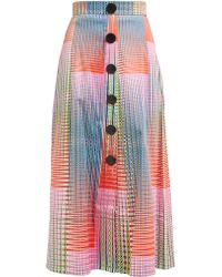 Saloni - Charlotte Checked Cotton Blend Skirt - Lyst