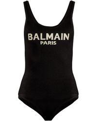 Balmain - Logo Knit Bodysuit - Lyst