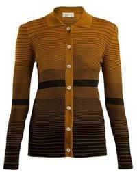 Wales Bonner - Spread-collar Striped-jacquard Cardigan - Lyst