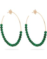 Diane Kordas - 18kt Gold Malachite And Diamond Hoop Earrings - Lyst