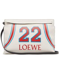 Loewe - T Pouch Printed Leather Bag - Lyst