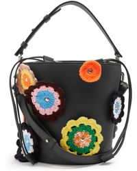 J.W.Anderson - Bucket Crochet-appliqué Leather And Canvas Tote - Lyst