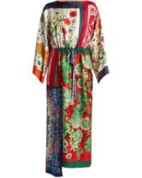 Gucci - Printed Foulard Patchwork Silk Dress - Lyst