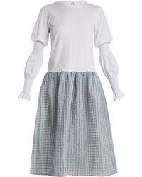 Shrimps - Juniper Contrast Gingham And Cotton-jersey Dress - Lyst