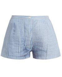 Thierry Colson - Armand Pleated Cotton And Silk-blend Voile Shorts - Lyst
