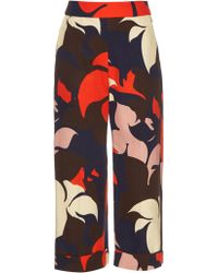 Delpozo - Floral-print Wide-leg Cropped Cotton Trousers - Lyst