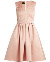 Rochas - Pleated Duchesse Satin Dress - Lyst