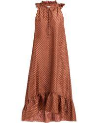 MASSCOB - Dunn Floral Print Ruffled Silk Dress - Lyst