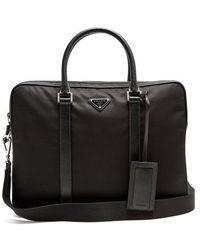 Prada - Leather-trimmed Nylon Briefcase - Lyst