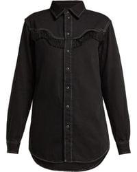 Ganni - Kress Fringed Cotton Shirt - Lyst