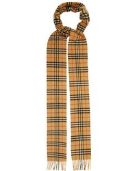 Burberry - Classic Skinny Vintage Check Cashmere Scarf - Lyst