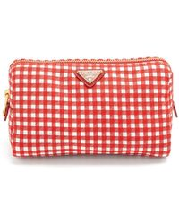 Prada - Gingham Woven Make Up Bag - Lyst