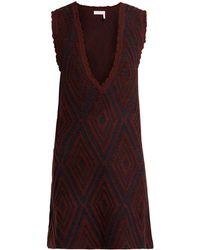 See By Chloé - Chevron Jacquard-knit Wool Dress - Lyst