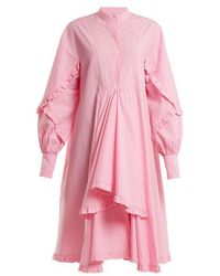 MSGM - Stand-collar Ruffle-trimmed Cotton Shirtdress - Lyst