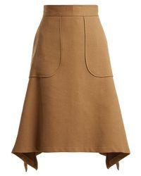 See By Chloé - City Cotton-blend Midi Skirt - Lyst