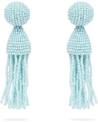 Oscar de la Renta - Bead Embellished Tassel Drop Earrings - Lyst