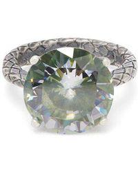 Bottega Veneta - Cubic-zirconia And Silver Intrecciato Ring - Lyst