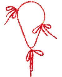 Simone Rocha - Bow-embellished Pendant Beaded Necklace - Lyst