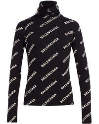 Balenciaga Logo Print Roll Neck Sweater
