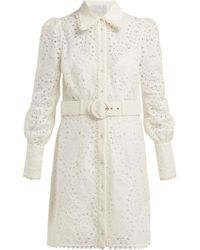 Zimmermann - Heathers Belted Broderie Anglaise Mini Dress - Lyst